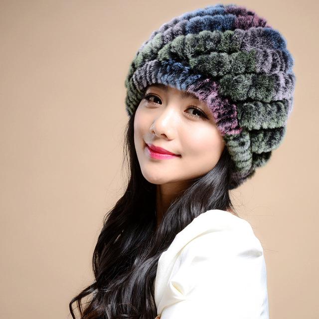Otoño invierno nueva tejer piña pequeña de piel de conejo de pelo de señora sombrero en invierno para mantener el calor Muy agradable y cálido cómodo