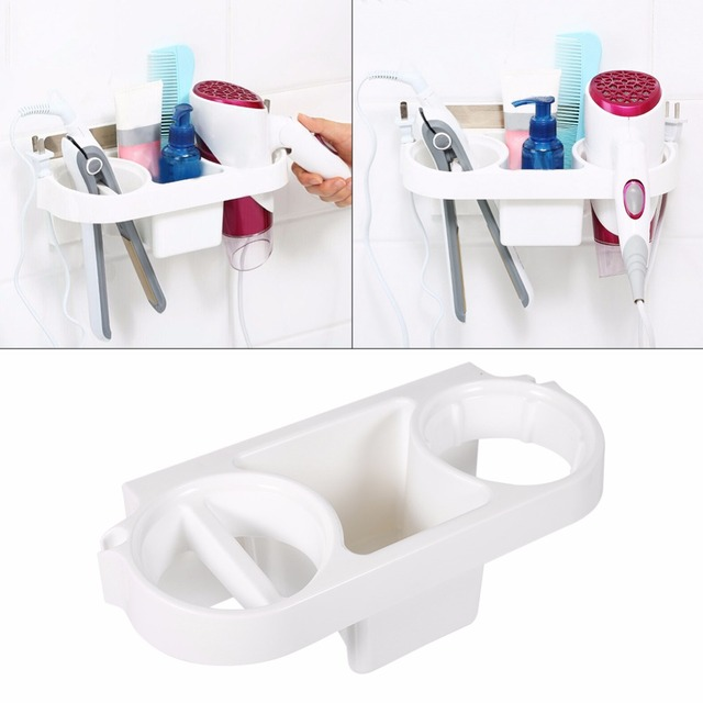 Wall Mount Hair Dryer Organizer Bathroom Kitchen Plastic Storage Rack  Electric Hair Plywood Comb Bathroom Wall