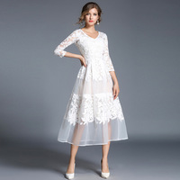 early autumn new white lace dresses three quaters sleeves v neck embroidery see though long dress with ling 2018 new arrivals