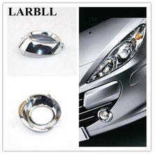 LARBLL Coppia Chrome Anteriore Sinistro e Destro lampada Della Luce di Nebbia Telaio di copertura trim Decorazione Per Peugeot 307