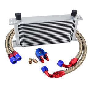 Image 5 - UNIVERSAL 19 ROWS OIL COOLER KIT +OIL FILTER SANDWICH + STAINLESS STEEL BRAIDED AN10 HOSE WITH PQY STICKER+BOX