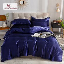 Slowdream Luxury Dark Blue 100% Silk Bedding Set Double Queen King Bed Bedclothe Duvet Cover Flat Or Fitted Sheet Pillowcase