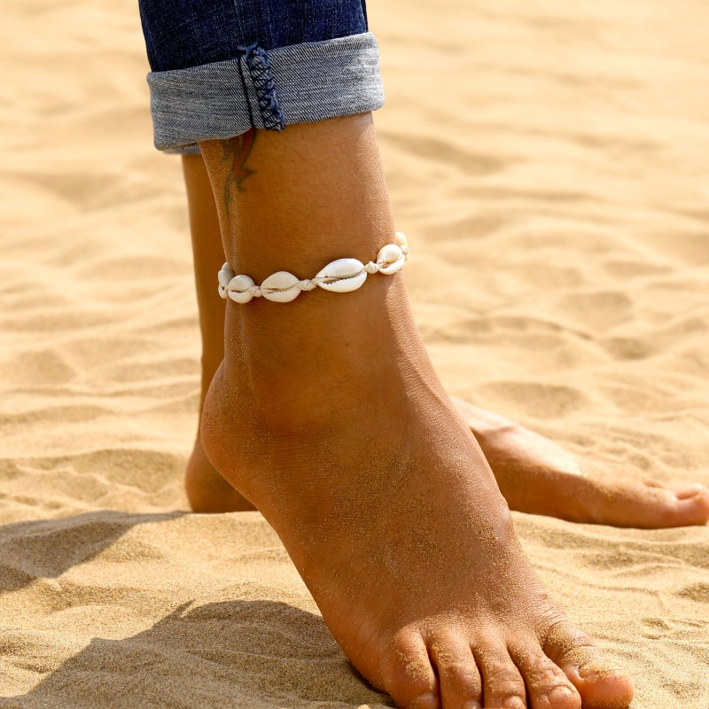 KISSWIFE Anklets for Women shell Foot Jewelry Summer Beach Barefoot On Leg Ankle Strap Bohemian Shell Anklets A Direct Sale