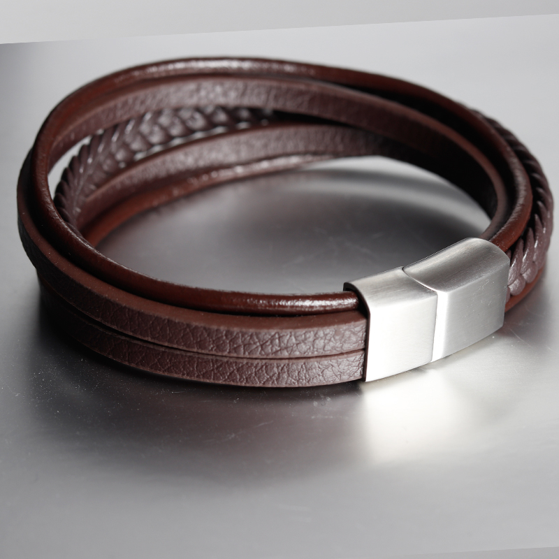 Geometric Fashion New Men Jewelry Genuine Leather Bracelets Stainless Steel Magnetic Clasp Vintage Brown Rope Chain for Gifts