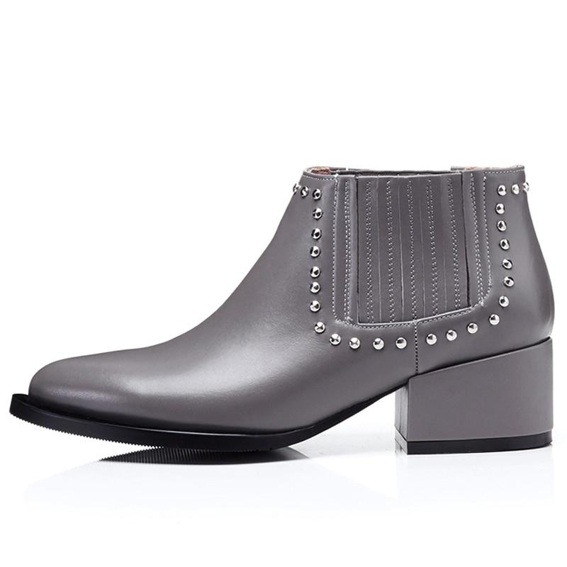 D'hiver Chaussures Véritable Rivet Med Bottes Femmes Msfair Femme Talon Cheville Bout Élégant Noir Bottines gris Cuir Pointu En PffW8AF