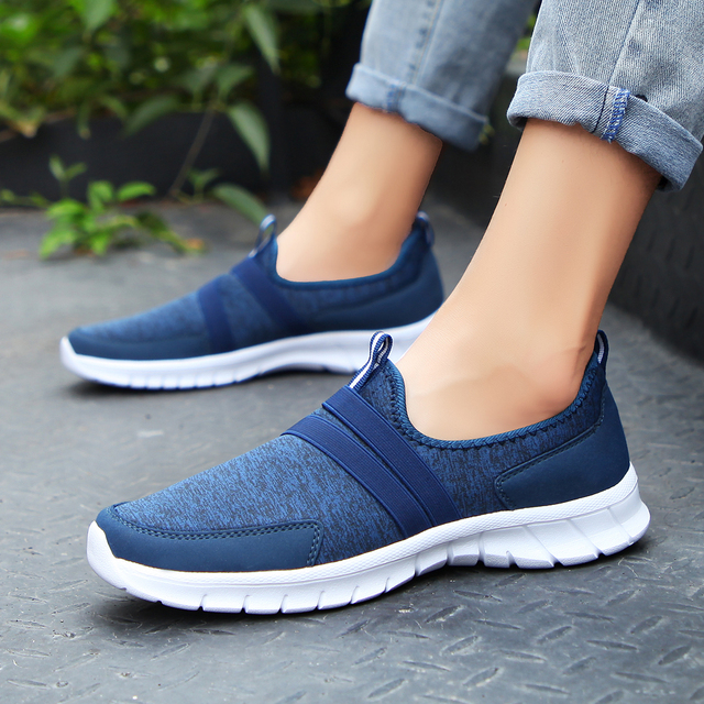Women Sneakers tenis casual feminino casual shoes Woman Flats Slip on Splice ladies shoes Black Gray Blue Plus Size 40 41 42 2