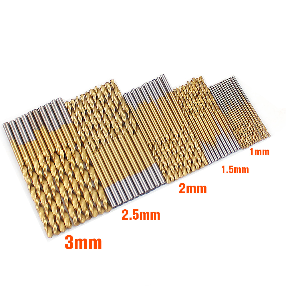 Twist Drill Bit Set Saw Set HSS High Steel Titanium Coated Drill Woodworking Wood Tool 1/1.5/2/2.5/3 mm Mini Drilling For Metal 13 mm hss titanium coated drill bit wood metal plastic cutting saw set drill bit drill bit set drill bit