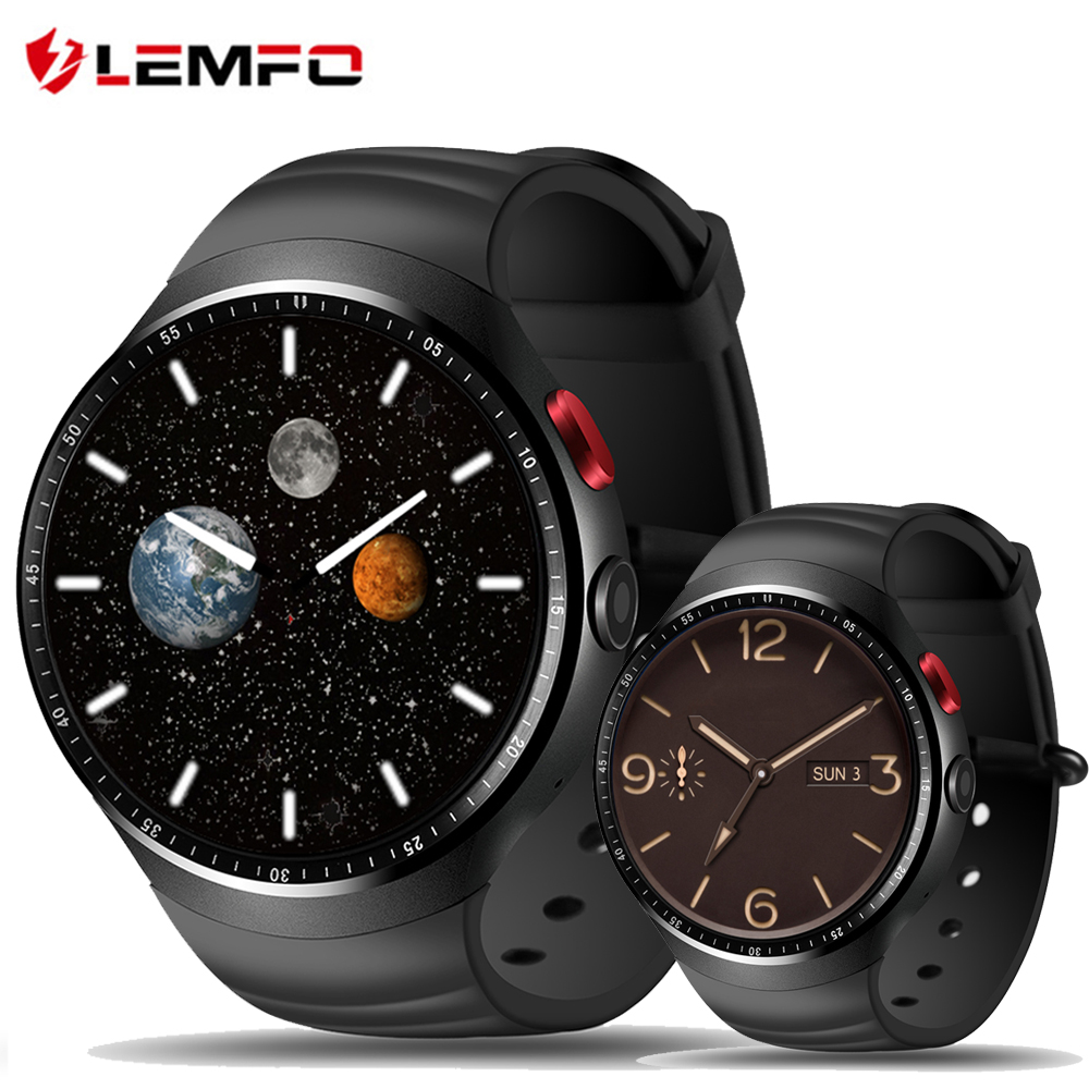LEMFO LES1 Smart Watch Android 5.1 OS 1GB RAM 16GB ROM WIFI 3G GPS Heart Rate Monitor Bluetooth MTK6580 Quad Core SmartWatch no 1 d6 1 63 inch 3g smartwatch phone android 5 1 mtk6580 quad core 1 3ghz 1gb ram gps wifi bluetooth 4 0 heart rate monitoring