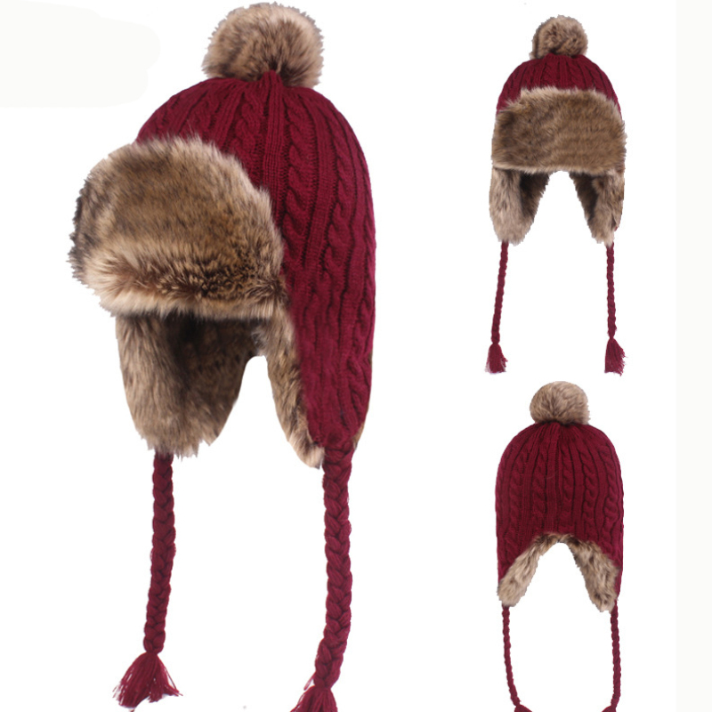 HT2206 Thick Warm Winter Hat Women  Earflap Cap Rabbit Fur Hat Ladies Knitted Russian Hats With Braids Windproof Trapper Ski Cap