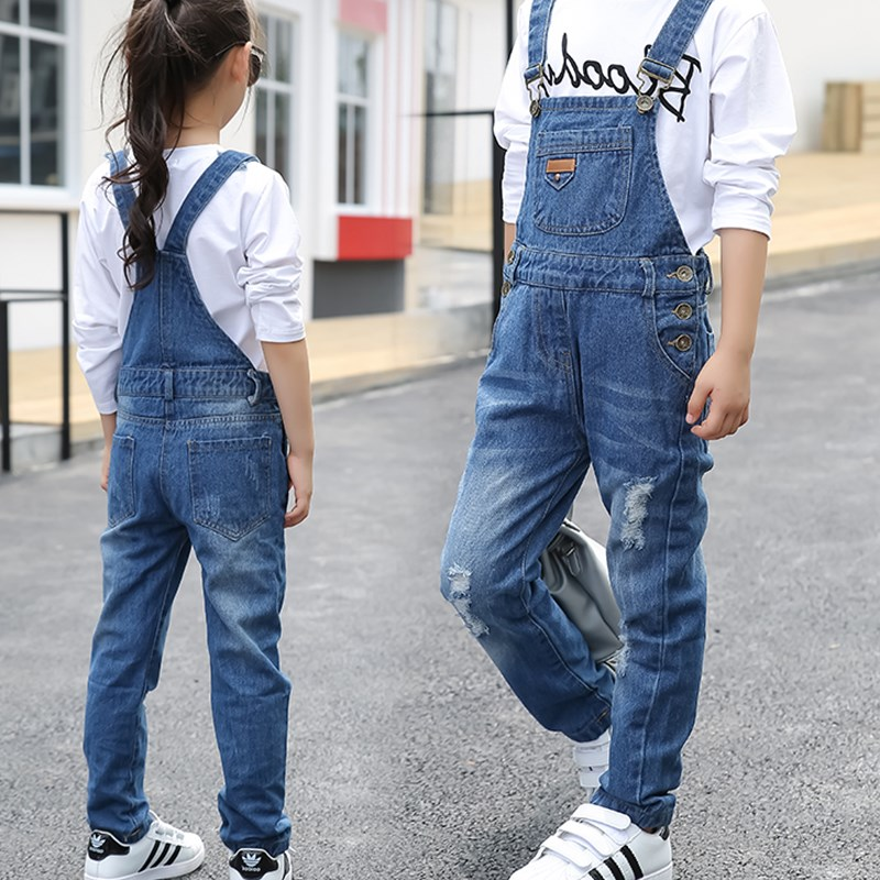 Kids denim overalls 2018 spring girls cowboy suspenders trousers children Korean belt pants for 4 to 13 years baby jeans clothes 2015 fashion suspenders multi pocket jeans detachable suspenders bib pants holes denim overalls free shipping