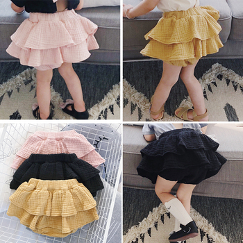 Baby Girl Korean Big PP Cotton And Linen Skirt Children 2019 Summer New Solid Color Cute Cake Skirts image