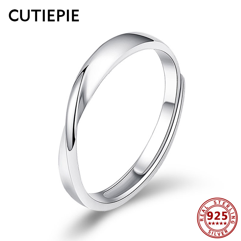 Cutiepie 100% Actual 925 Sterling Silver Mobius Everlasting Love Rings For Girls Clear Rotate Finger Ring Wedding ceremony Silver Jewellery Items