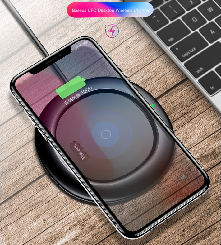 BASEUS Brand UFO Series Desktop Qi Wireless Charger Pad Automatic Charging For iPhone X 8 /Galaxy S8 Plus Universal Qi Devices