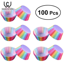 100 pcs Rainbow Color Cupcake Liner Paper Baking Cup Muffin Cases Cake Mold Tray Decorating Tools Small box XF5