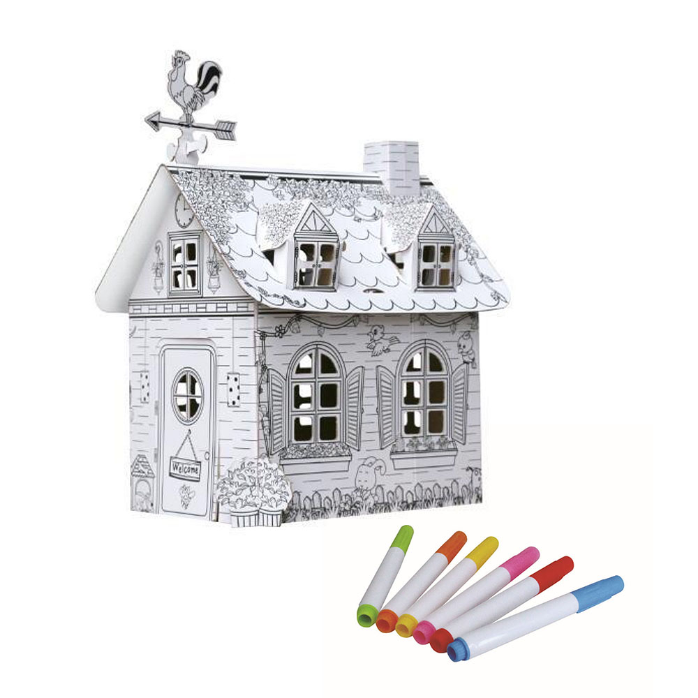 Creative Crafts Early Education Art Coloured Graffiti House Children's Hand-painted Toys To Send 6 Color Pen Toys