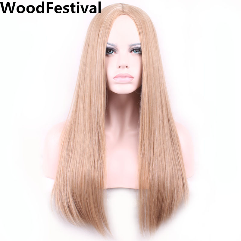 WoodFestival Heat Resistant Mix Color Brown Synthetic Wig Long Straight Cosplay Wigs For Women
