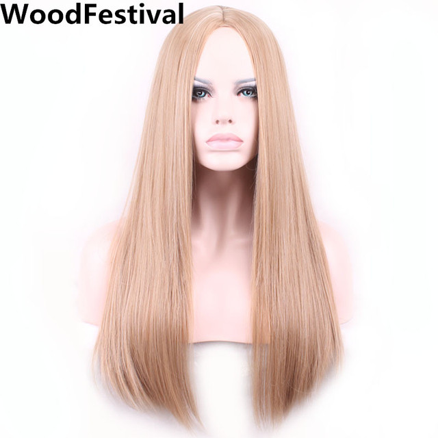 WoodFestival straight blonde wig long brown wig cosplay wigs for women heat  resistant wigs synthetic hair high temperature fiber d7be26943e
