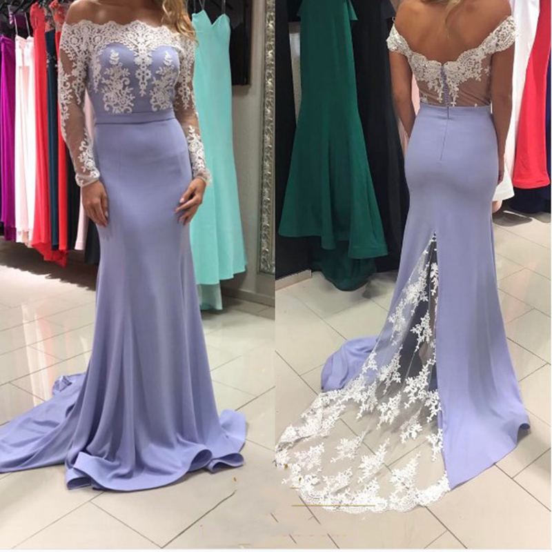 Sexy Boat Neck Mermaid   Bridesmaid     Dresses   2018 Simple Lace Long Sleeves Party Gowns Robe De Soiree Prom   Dress   Custom Made