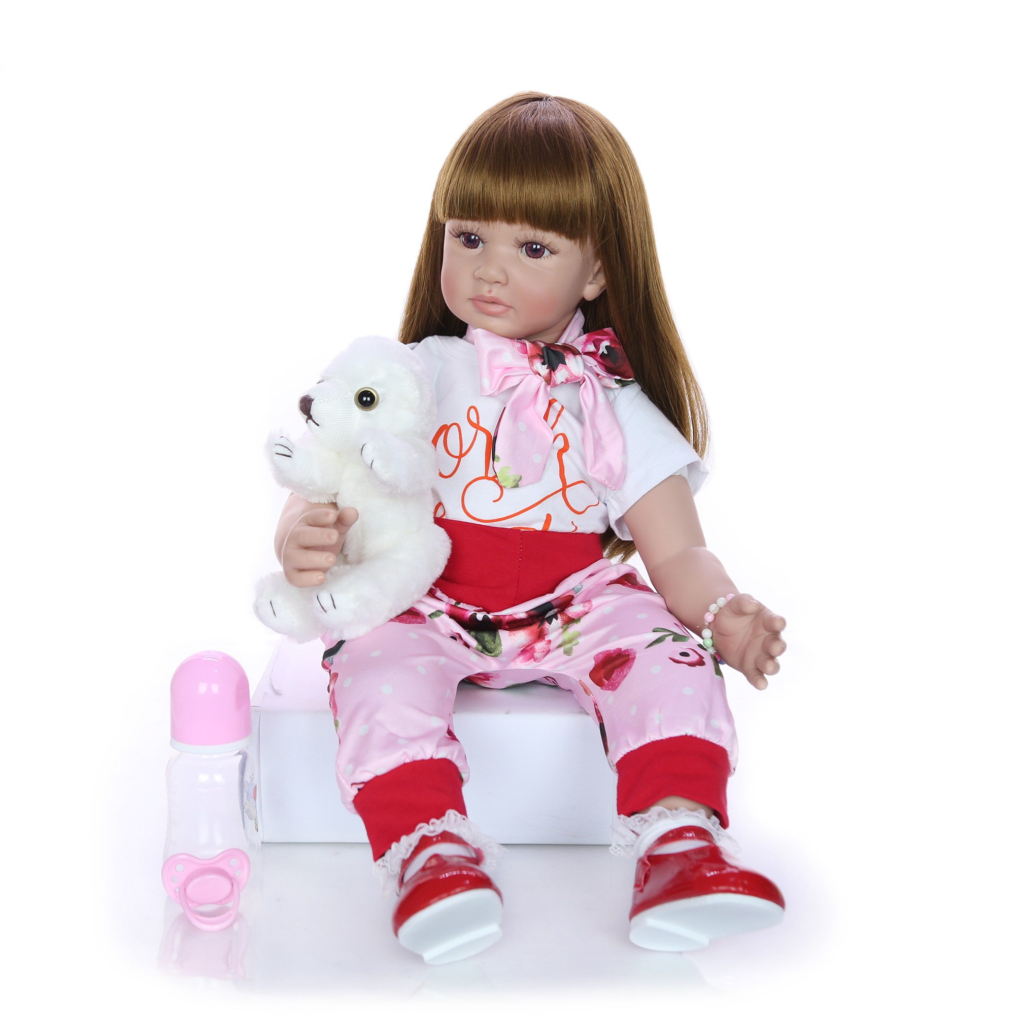 Image 3 - Fashion 24 Inch Reborn Baby Doll 60 cm Silicone Soft Realistic Princess Girl Babies Doll Toy Ethnic Doll For Children's Day Gift-in Dolls from Toys & Hobbies