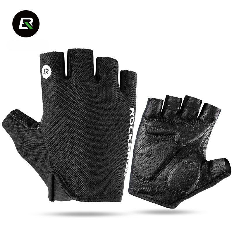 Rockbros Mountain Road Bike Gloves Half Finger Cycling Gloves 5mm Sponge Pad Anti-shock Bicycle Gloves Guantes Ciclismo longkeeper cycling gloves full finger mens sports breathable anti slip mountain bike bicycle gloves guantes ciclismo