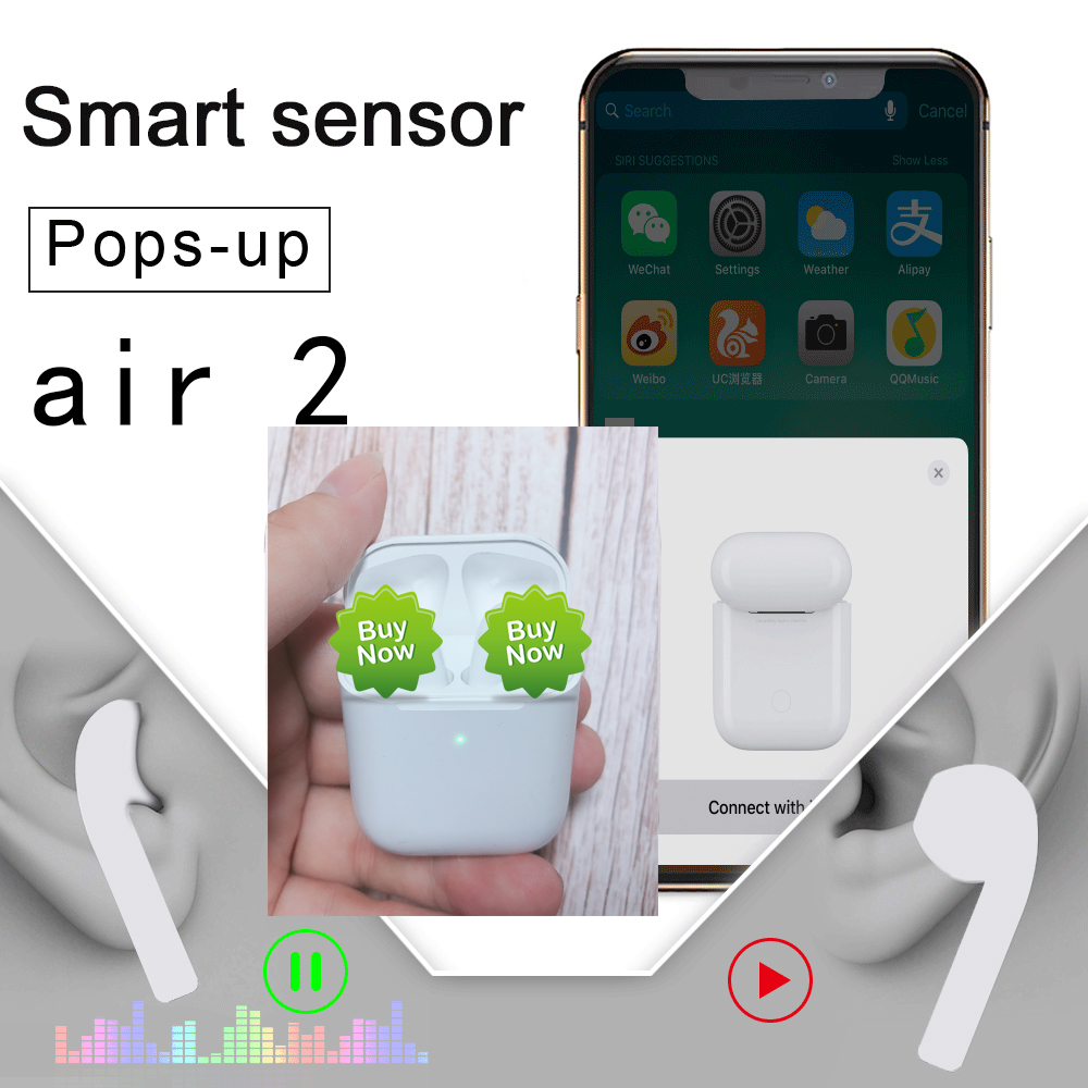 I200 killer 43g Latest Smart Light Sensor Air 2 2nd Pop-up 1:1 Bluetooth 5.0 Earphone Earbuds Wireless Headphones Bass <font><b>TWS</b></font> image