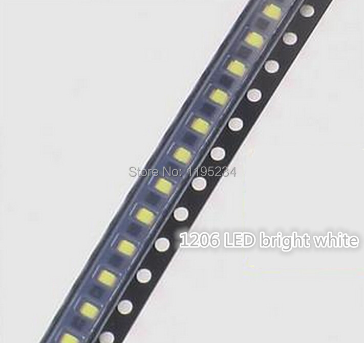 348592a4d0 Envío libre 1000 unids lote 1206 blanco LED diodo emisor de luz SMD  brillante blanco
