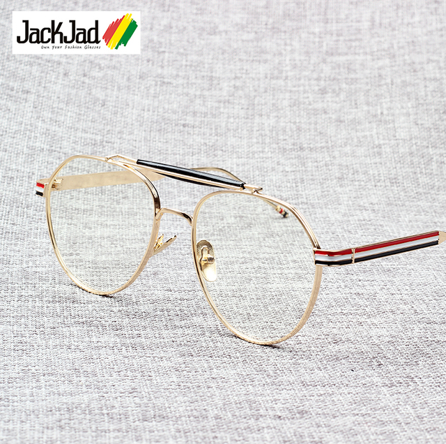 JackJad 2018 New Fashion Vintage Round Style Plain Glasses Brand Design Three Color Stripes Eyewear Frame Oculos De Grau BT117