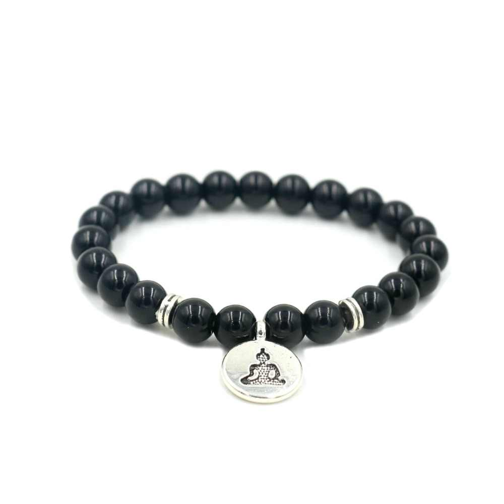 Men Natural Agates Beads Strand Bracelet Silver Lotus Buddha OM Bracelet For  Women Charm Yoga Bracelets Jewelry
