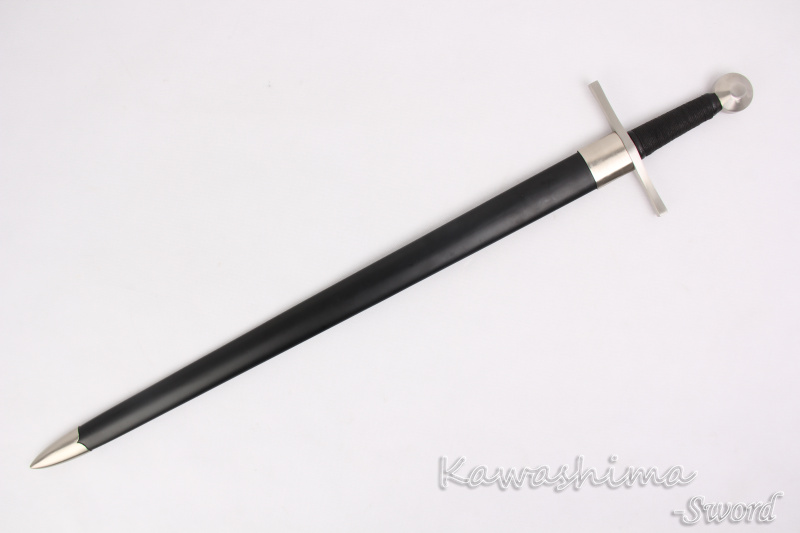 European Medieval Sword Wooden Scabbard Spring Steel Full Tang Blade Easy Assembly Professional for Training/Battle