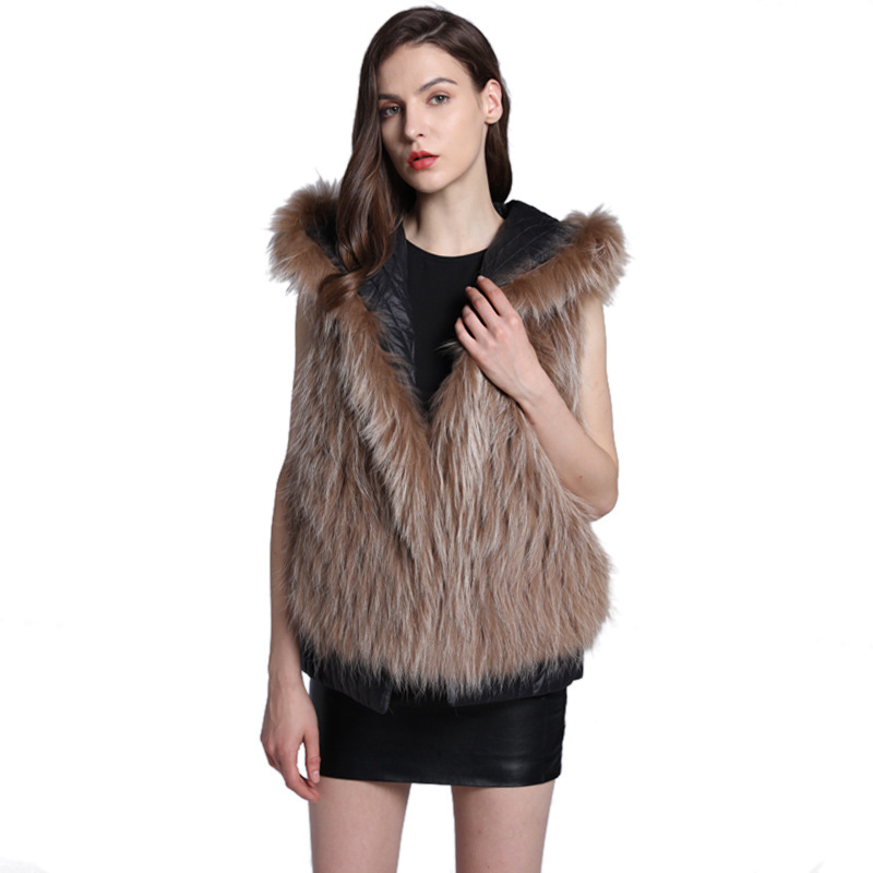 Luxury Autumn Winter Women's Genuine Striped Fox Fur Vest with Hoody Down Lining Lady Short Waistcoat Female Gilet VF5063