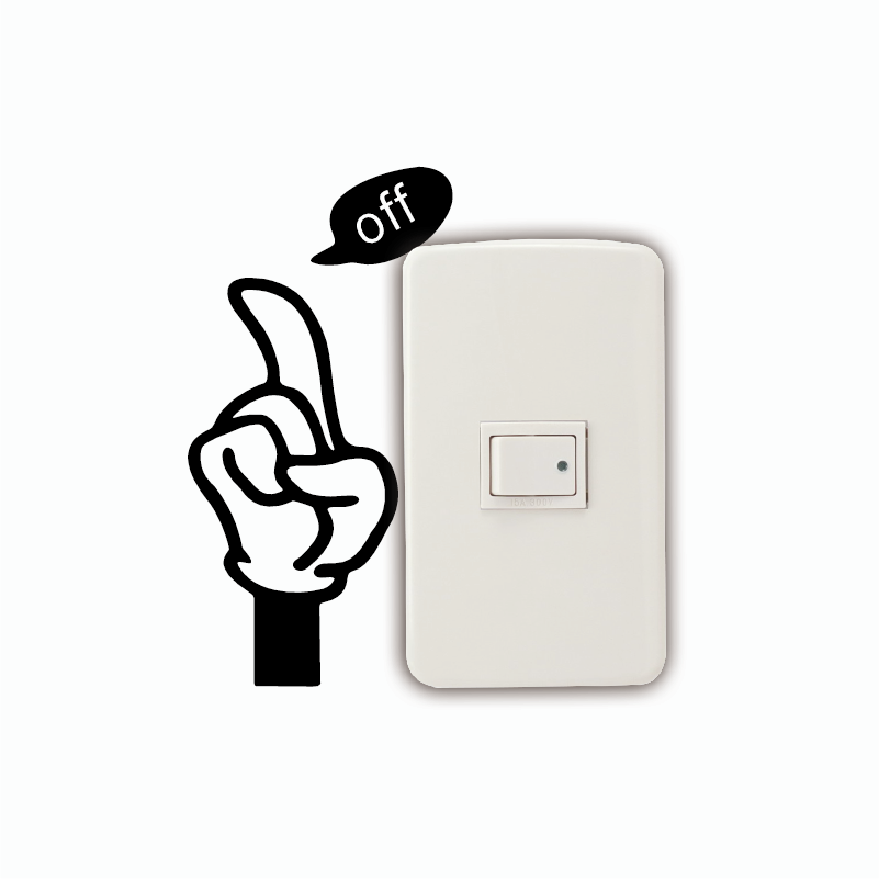 KG-126 Creative Save Electricity Light Switch Sticker Funny Cartoon Hand Vinyl Wall Sticker Wallpaper