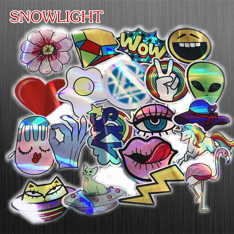 30Pcs/Lot Cool Motorcycle Laser Stickers Bomb Tide Brand ET Alien Decals For Skateboard Luggage Laptop Notebook Guitar Car