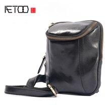 AETOO Mens leather chest bag mens sports leisure Korean version retro small cowhide crossbody