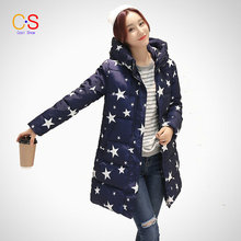 Women Fashion Coat Slim Fit High Neckline Lady Hooded Jacket With Star Print Regular Length Thick Warm Winter Outfit Female Coat