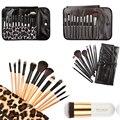 Leopard 12Pcs/Set Pro Makeup Brush Set Foundation Powder Blush Eye Shadow Eyelash Lip Brush Cosmetic Makeup Brush Tools with Bag