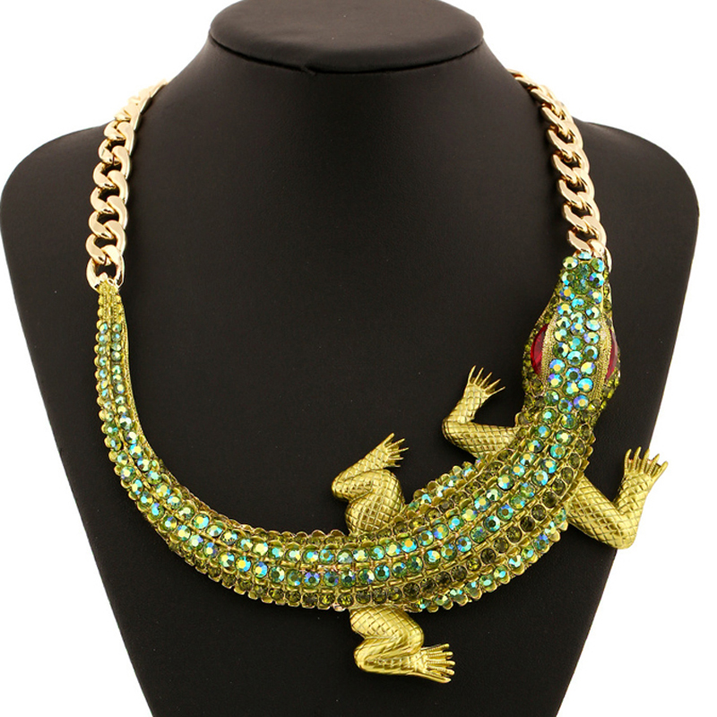 Fashion Exaggerated Full Crystal Crocodile Statement Necklaces for Women Gold Chunky Chain Choker Necklace Collier Femme 0411 rhinestone choker necklace 2017 luxury statement crystal chokers necklaces for women chunky neck accessories fashion jewellery