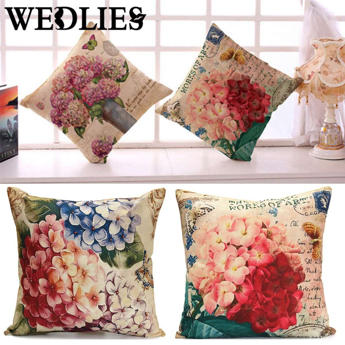 Cotton Linen Flower Cushion Cover Sofa Waist Throw Pillow Case