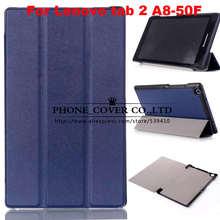 Soporte magnético pu cubierta de cuero de lujo para lenovo tab 2 A8 A8-50 A8-50F A8-50LC tablet funda + protector de pantalla + stylus
