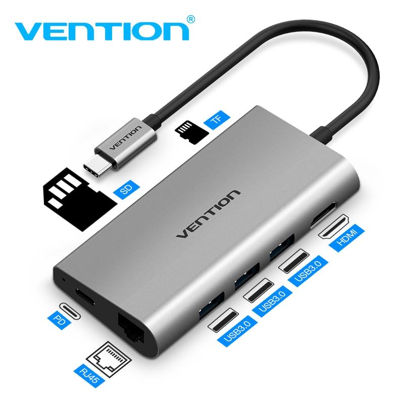 Tions USB HUB Typ C zu USB 3.0 HUB HDMI RJ45 Thunderbolt 3 Adapter für MacBook Samsung S9 huawei P20/ p20 pro Typ-C USB C HUB