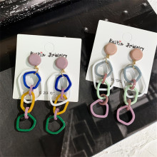 FYUAN Korea Long Acrylic Drop Earrings for Women Colorful Link Circle Geometric Dangle Party Fashion Jewelry