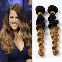 3PCS 7A Brazilian Ombre Loose Wave Extensions Cheap Virgin Two Tone Human Hair Color 1b 27 Tissage Blonde Ombre Loose Wave CL303