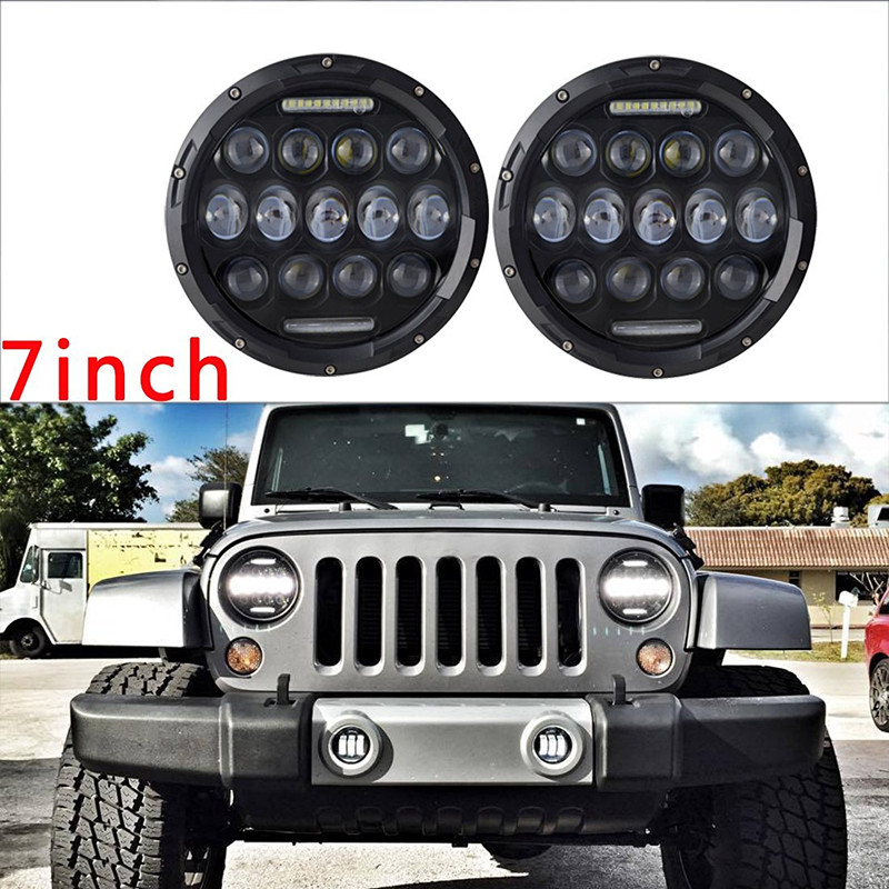 7 inch Round led headlight 7 pouces conduit phare high low Beam Projection lens for Jeep JK Wrangler TJ CJ Harley Motorcycle 2pcs high low beam 7 inch led headlight 45w car head light for harley davidsion motorcycle 1997 2016 wrangler jk lj tj headlamps