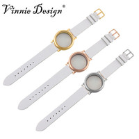 Vinnie Design joyería de acero inoxidable Locket pulsera para reloj flotante Amuletos alta calidad 20 cm correa de cuero