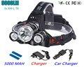 Led Headlight 9000 Lumen 3XT6 Headlamp 3x XM-L T6 LED Head Lamp Flashlight Head Torch Headlamp Battery Recharge Car Charger +USB