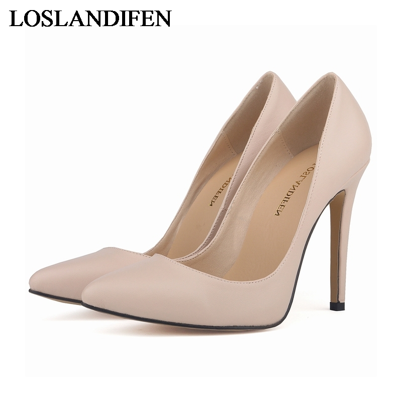 New 2018 Spring Summer Ladies Shoes High Heels Pumps Pointed Toe Soft Leather Thin Heels Fashion Sexy Shoes NLK-B0094