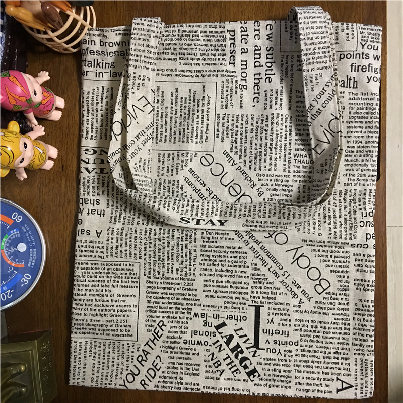 YILE Cotton Linen Shopping Tote Shoulder Carrying Bag Eco Reusable Bag Printed English Newspaper L170213