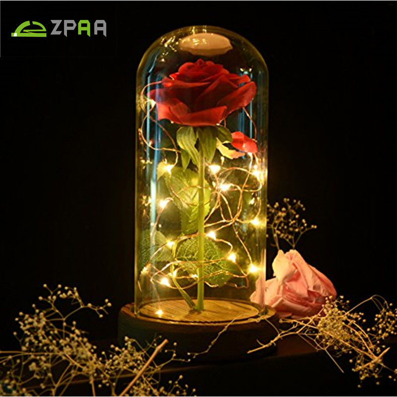 LED Red Rose Desk Lamp String Light Battery Powered Night Light Glass Cover Romantic Valentines Day Birthday Gift Decoration