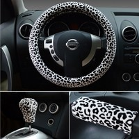 3in1 girl car universal soft plush Leopard beautiful steering wheel cover + gear + handbrkae cover best gift for girl