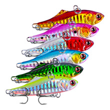 6Pcs Metal Vib Fish Bait 7.5cm 23g Sinking Sea Fishing Jigging Lure Swimbait Wobbler Jig
