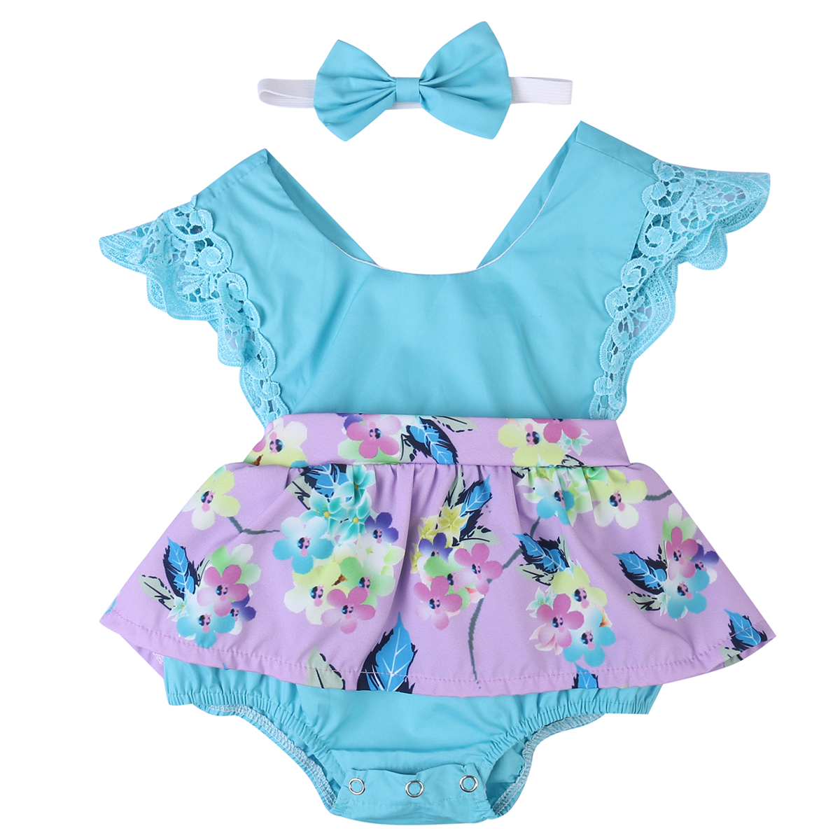 Summer new lovely Newborn Baby Girls Clothes Floral printed lace bodyuist Dress Jumpsuit+bowknot Headband 2pcs cute kid Outfit